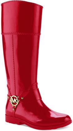 be9656888e9 $125, Red Rain Boots: MICHAEL Michael Kors Michl Michl Kors Fulton Harness  Rain Boots