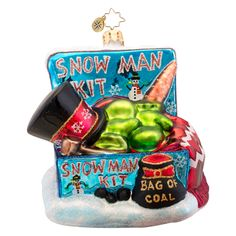 Christopher Radko Ornaments 2014 | Radko Snowman Ornament All the Pieces Included