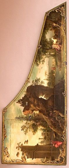 The interior of a Harpsichord lid features a charming painting in the manner of the Ruckers' contemporary, Frans Francken.