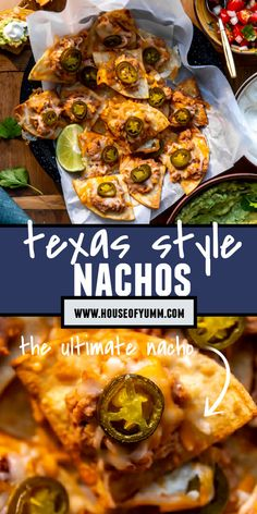 Texas Nachos. No more sad and lonely chips! Meet the Texas Nachos! Every single chip is loaded up with refried beans, cheese and jalapeno. Serve on a tray with your favorite dips. The perfect meal/snack/appetizer! Carnitas, Barbacoa, Side Dish Recipes, Easy Dinner Recipes, Appetizer Recipes, Easy Meals, Appetizers, Side Dishes For Salmon, Side Dishes For Chicken