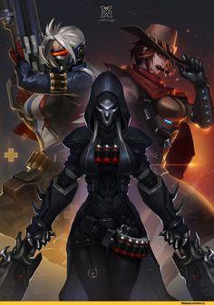 r63,Blizzard,Blizzard Entertainment,фэндомы,McCree,Overwatch,Soldier 76,Reaper (Overwatch),Overwatch art,xiaoguimist