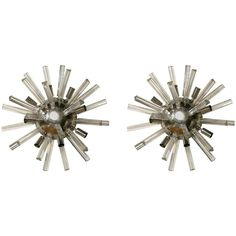 Pair of Italian Art Deco Spherically Shaped Crystal Wall Sconces