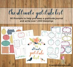 The ultimate gratitude list contains 90 prompts on ten pages to help you create a gratitude journal. When you are done you will have written down blessings! Truly a Thanksgiving treat! Gratitude Quotes, Attitude Of Gratitude, Lds Seminary, Prince Of Peace, Project Life Cards, Activity Days, Relief Society, Journal Pages, Journal Ideas
