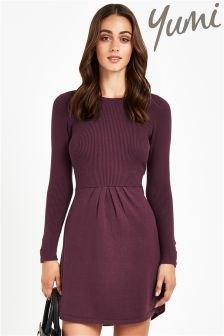 Yumi Long Sleeve Knitted Shift Dress - maybe something like this with tights / boots and coat for outdoor look?