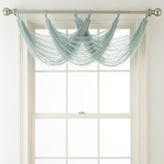 Liz Claiborne Lisette Sheer Tab-Top Beaded Waterfall Valance ($24) ❤ liked on Polyvore featuring home, home decor, window treatments, curtains, polyester curtains, beaded valance, tab top sheer curtains, tab top curtains and tab top valance