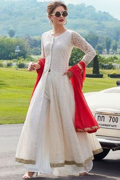 Buy Off White Georgette Thread Embroidered Jacket Style Salwar Online Pakistani Dresses Casual, Indian Gowns Dresses, Indian Fashion Dresses, Dress Indian Style, Pakistani Dress Design, Indian Outfits, Designer Salwar Kameez, Indian Designer Suits, Designer Gowns
