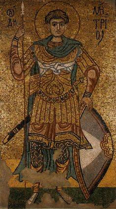 mosaic of St. Demetrius of Salonica, formerly in the Golden-Roofed Monastery of Kiev, now in the Tretyakov Gallery of Moscow. - Michael_of_salonica. Varangian Guard, Eslava, Byzantine Art, Saint Michel, Thessaloniki, Orthodox Icons, Medieval Art, Dark Ages, Ancient Artifacts