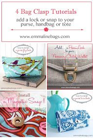Emmaline Bags: Sewing Patterns and Purse Supplies: Bag & Wallet Closures - Tips, Tricks and Options