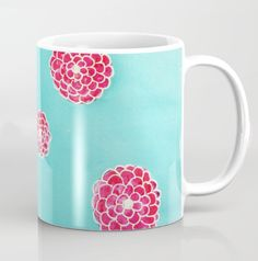Tati Galiano. Illustration. Society6. Coffee Mug. pink flowers in blue. #society6 #blue #flowers