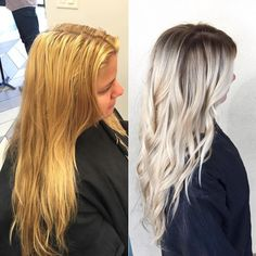 Color by Becky Miller @beckym_hair. Full head highlights using Silk Lift + 20 vol + Olaplex No. 1. Base color in between foils in the back with Goldwell Topchic, 10 vol 7a and 7na feathering down for seamless blend. 7n with a little 7na on the top of the head where all the pre-existing highlights were. Tip out the ends with Silk Lift + 20 vol + Olaplex No. 1. Colorance 7n to neutralize any yellow tones left over. Once processed, shadow root at the bowl with Colorance 7n=7na for 10-15 min…