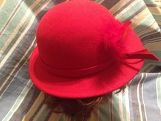 Ladies Vintage Bollman&Co Red Wool Hat Made in USA Ladies Red Hat by VeryVintageCanadian on Etsy Vintage Ladies, Vintage Hats, Red Hats, Hat Making, Hats For Women, Wool, Usa, Lady, How To Make