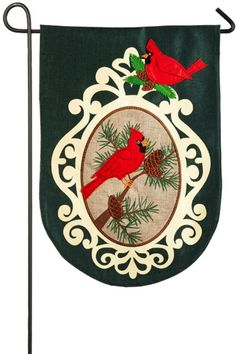 """This weather and fade resistant indoor/outdoor garden flag is in double-sided polyester burlap and is embellished with a colorful felt applique and embroidery. Spot clean; line dry. Measures 12.5"""" x 18"""".   Burlap Cardinal Flag by Evergreen Enterprises. Home & Gifts - Home Decor - Outdoor Virginia"""