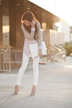 white pants 9 to 5 chic
