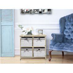 cassettiera in legno di paulownia con 6 cassetti colorati stile ... - Cassettiera Bagno In Vimini