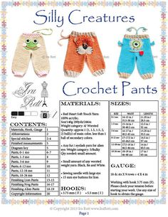 Alien & Animal Pants Crochet Pattern PDF Frog, Lion & Alien Monster