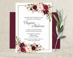 Marsala Wedding Reception Only Invitation Bohemian Wedding I