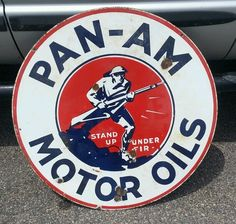 "Pan-Am Motor Oils Antique Porcelain Sign (Vintage 1920 Doughboy WW1 Double Sided Pan Am Gasoline Advertising Sign, ""Stand Up Under Fire"")"