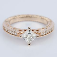 Check out the stunning detail of this Antique Filigree Princess Diamond Engagement Ring in Rose Gold!