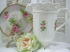 Decorative Pitcher with Pink Roses Vintage. $18.00, via Etsy.