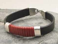 FREE SHIPPING  Men's leather bracelet Black and by eliziatelye, $25.00