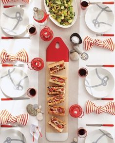 """red casual details and a fun napkin """"knot"""" are sure to rope guests in #wedding #summerwedding"""