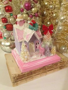 Kitschy Putz Glitter House  Cardboard Christmas House Pink