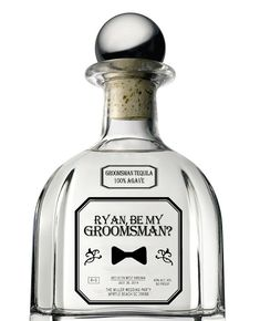 Set of 6 Groomsman/Bridesmaid & Best Man Clear Tequila Patron Style Labels - Be My Groomsman - OR Groomsman Gift - Wedding Party