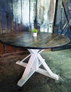 Round Trestle X Farmhouse Dining Table Wooden Whale Workshop Woodwork Kitchen Tables For Sale, Round Kitchen, Wooden Kitchen Bench, Trestle Dining Tables, Dining Area, Drop Leaf Table, Solid Wood Table, Table And Chair Sets, Farmhouse Table