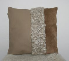 leather/suede/knitted cushion lederen/suede/gebreid kussen