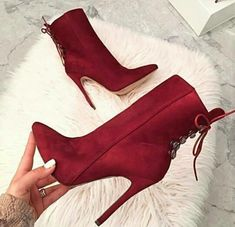 Women's Maroon Pointy Toe Ankle Booties Lace up High Heels Stilettos Boots for Party, Music festival, Date, Big day, Pretty Shoes, Beautiful Shoes, Cute Shoes, Me Too Shoes, Ankle Booties, Bootie Boots, Shoe Boots, Shoes Heels, Flat Shoes