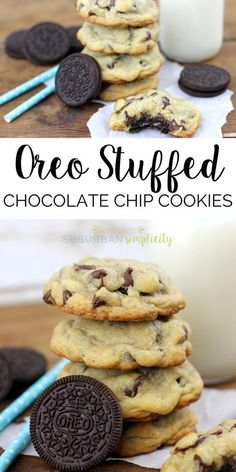 Love Oreos? Then you HAVE to try this Oreo Stuffed Chocolate Chip Cookies recipe. Homemade chocolate chip cookies with an Oreo cookie nestled inside! Yum - the best dessert! (Best Desserts)
