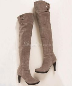 cool Concise Metal Decoration Knee High Boots