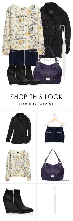"""""""Lydia Inspired Rainy Day Outfit"""" by veterization ❤ liked on Polyvore featuring Mossimo, Motel, H&M, Nine West, Forever New, Fulton and Topshop"""