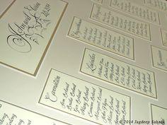 Table seating plan for Elaine & John Boland by Jagdeep Sahans, via Behance Irish Wedding, Our Wedding Day, Wedding Calligraphy, Wedding Stationery, Invitation Design, Invitations, Ourselves Topic, Wedding Album, Table Plans