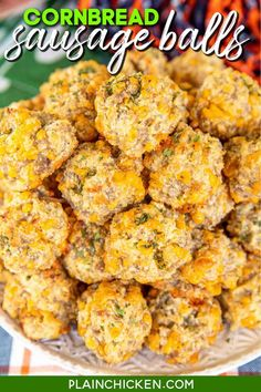 Cornbread Sausage Balls – sausage balls made with cornbread mix instead of Bisquick. Sounds weird, but these are seriously THE BEST sausage balls EVER! Only 4 ingredients - sausage, cream cheese, cornbread mix, and cheddar cheese. Can make in advance & freeze for a quick snack later. Great for parties, potlucks, tailgating, and dinner! #sausage #appetizer #snack #jiffymix Yummy Appetizers, Appetizer Recipes, Snack Recipes, Cooking Recipes, Snacks, Cooking Pork, Plain Chicken Recipe, Chicken Tender Recipes, Sweet Cornbread