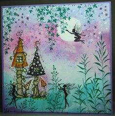 Creeping Vine, Willow, Fairy House, Field Grass en Three Dancing Fairies van Lavinia Stamps