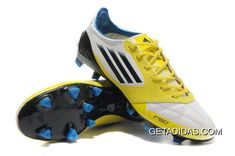 447e8afc150 Wear Resistant Undoubtedly Choice Affordable 2012 Adidas F50 Adizero  MiCoach Leather FG White Yellow DK Blue Running Shoes TopDeals
