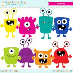 monsters clip art digital aliens clipart by DigitalBakeShop Doodle Monster, Monster Font, Monster Drawing, Cute Monsters Drawings, Cartoon Monsters, Little Monsters, Monster Birthday Parties, Monster Party, Halloween Party Snacks