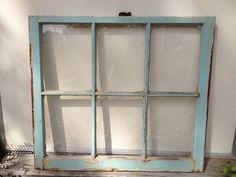6 Pane Old Window, Shabby Chic Turquoise Blue, Frame. $50.00, via Etsy.