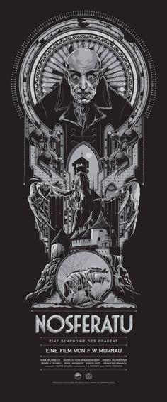 "Affiche originale Mondo ""NOSFERATU"" par Ken Taylor, numérotée. Regular Edition: Size: 15″ x 36″ Edition: 375 Regular / 175 Variant. @asgalerie #asgalerie #mondo #nosferatu #KenTaylor."