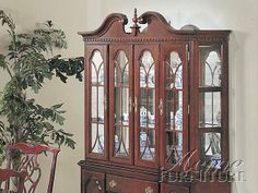 Chippendale Cherry 4-Door China (Buffet-Hutch) By Acme 02454-B-H