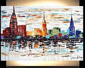 "40"" art painting Original painting Abstract Painting city large Painting from Jolina Anthony express and free shipping. $299.00, via Etsy."