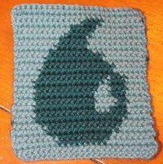 Magic the Gathering Blue Mana (Island) #crochet potholder or scarf block #MTG