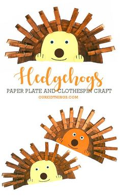Paper Plate Crafts 197595502390381610 - Paper Plate Clothespin Hedgehogs Craft Source by catholicicing Paper Plate Crafts For Kids, Animal Crafts For Kids, Fall Crafts For Kids, Craft Projects For Kids, Toddler Crafts, Preschool Crafts, Fun Crafts, Ocean Crafts, Hedgehog Craft