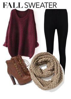 """""""Fall in red"""" by nkichar on Polyvore featuring Boohoo, JustFab and Old Navy"""
