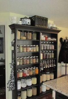 "Bookshelves as an ""open pantry"""