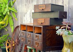 Antique Wooden Card Catalog / Flat File Cabinet: by MerlesVintage