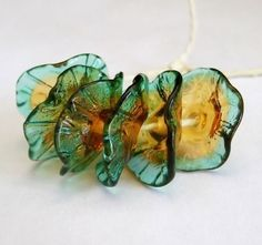 Handmade Lampwork Glass Flower Beads - Fairy Flowers floral discs in topaz gold and teal blue - Vintage