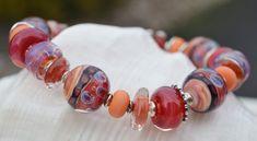 SUNSET-Handmade Lampwork and Sterling Silver Bracelet
