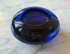 Vintage Murano Sommerso Art Glass Ashtray Cobalt by orchard8retro